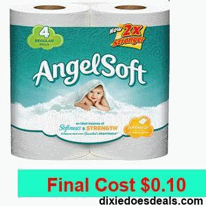 angel soft bath tissue 4 rolls only 0 10 kroger deal