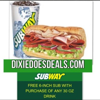 Free 6″ Sub With Drink Purchase: Subway Deal