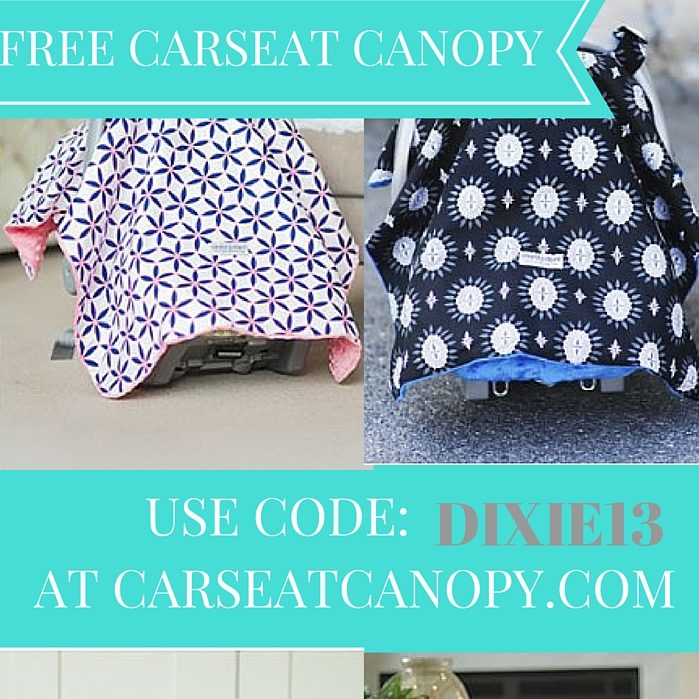 Details: Purchase a single Carseat Canopy of any design, and use this coupon code while making your purchase to get your canopy completely free.