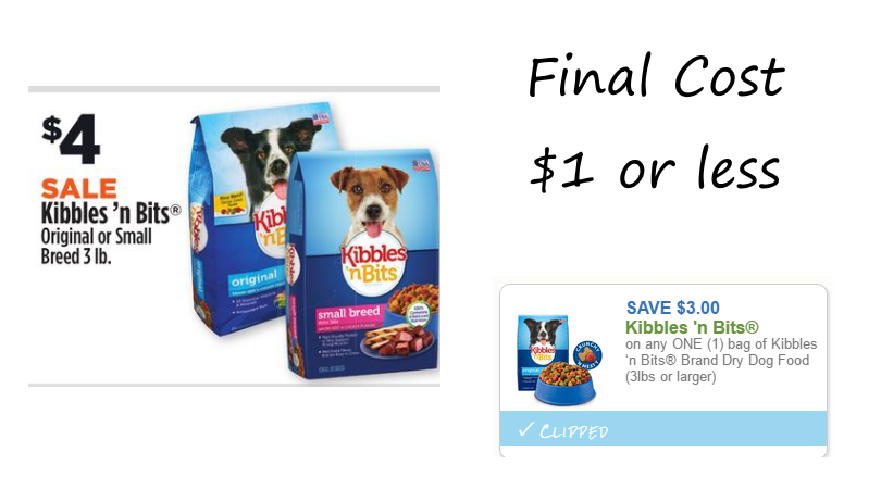 graphic relating to Kibbles and Bits Printable Coupons called Kibbles n Bits 3 lb. Pet dog Meals Baggage Basically $1 or Fewer at Greenback