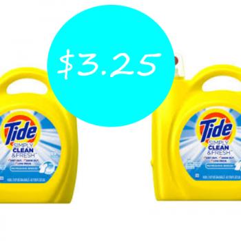 Tide Simply 89 Loads Only $3.25 at Target (Regular $9.49)