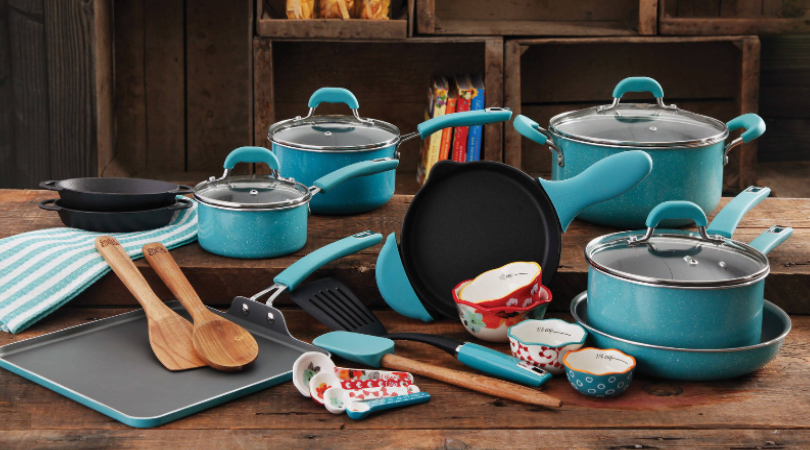 The Pioneer Woman Vintage Cookware 27 Piece Set Only 89 Regular 199 99