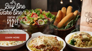Olive Garden – 4 Entrees, 2 Salads or Soups and 4 Breadsticks Only $20.98