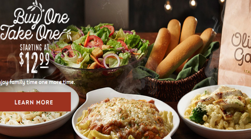 Olive Garden 4 Entrees 2 Salads Or Soups And 4 Breadsticks Only