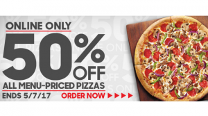 50% Off Pizzas at Pizza Hut = Large Only $5.49
