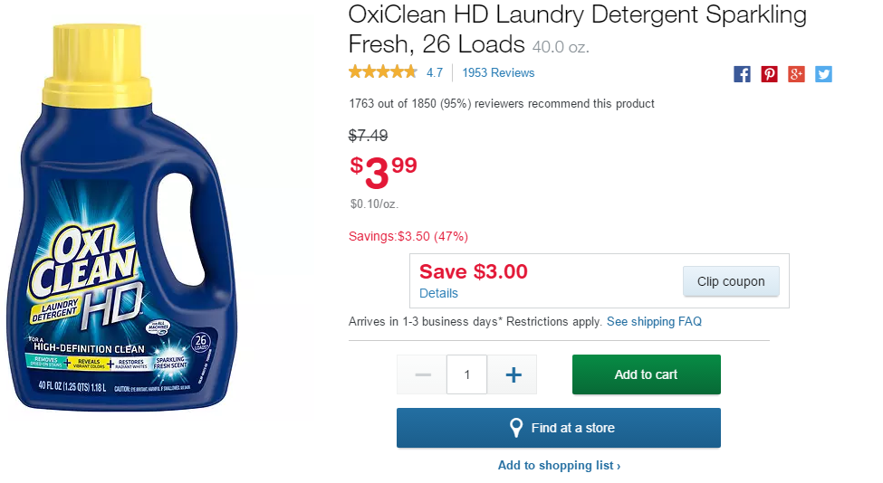 Oxi-Clean Laundry Detergent Only $0 99 at Walgreens + Free Store
