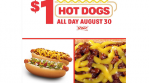 $1 Hot Dogs All Day at Sonic Drive-In – Today August 30th!