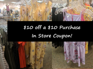 Maurices $10 off a $10 Purchase In Store Coupon!