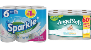 Angel Soft 12 Family Rolls or Sparkle Paper Towels 6 Rolls Only $3 at Dollar General!