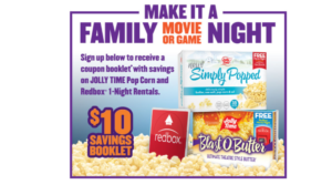 Request a FREE Jolly Time & Redbox Coupon Book – Includes FREE Rental!