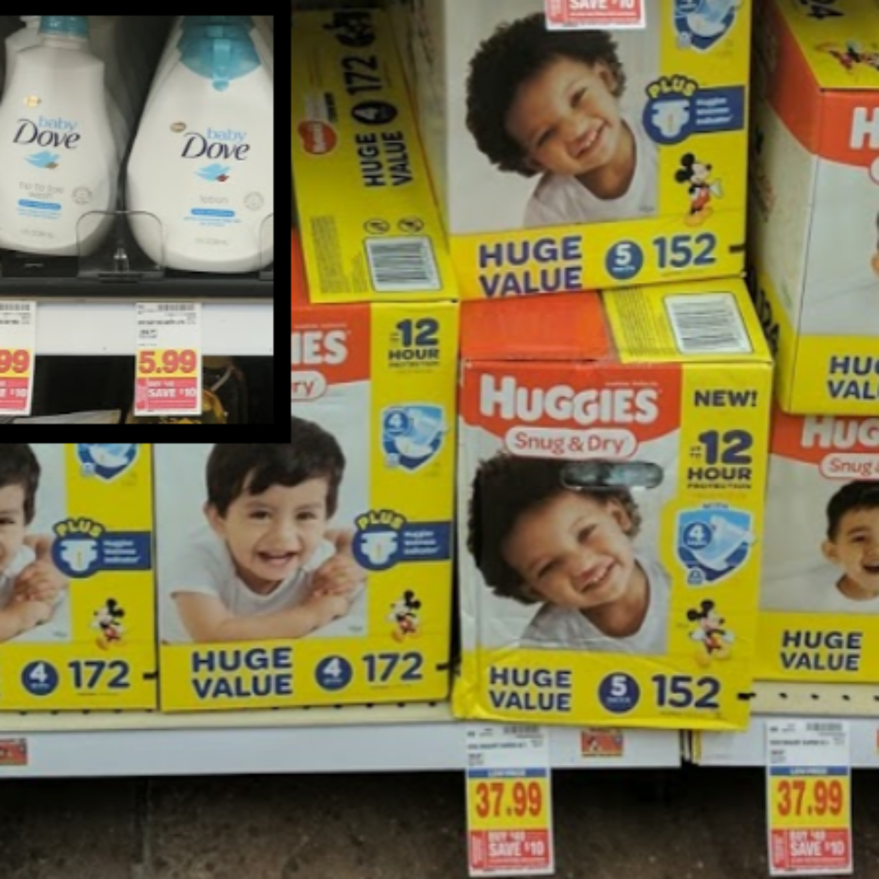One Huge Box of Huggies + Baby Dove Item Only $20.48 Using Digital Coupons at Kroger ($43.98 Value)