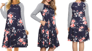 Frugal Fashion Deal #OOTD – Floral Print Long Sleeve Casual T-shirt Dress with Pockets