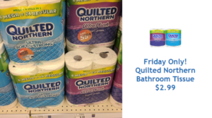 Quilted Northern Bath Tissue 6 Mega Rolls Only $2.99 Today Only with Kroger 5X Digital Coupon