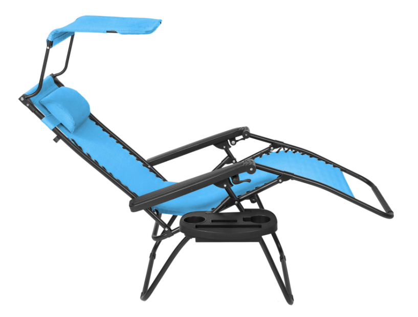 Hurry Over Here And Grab This Folding Zero Gravity Lounge Chair With Canopy  Shade U0026 Magazine Cup Holder On Sale For Just $34.99 (regular $149.95).