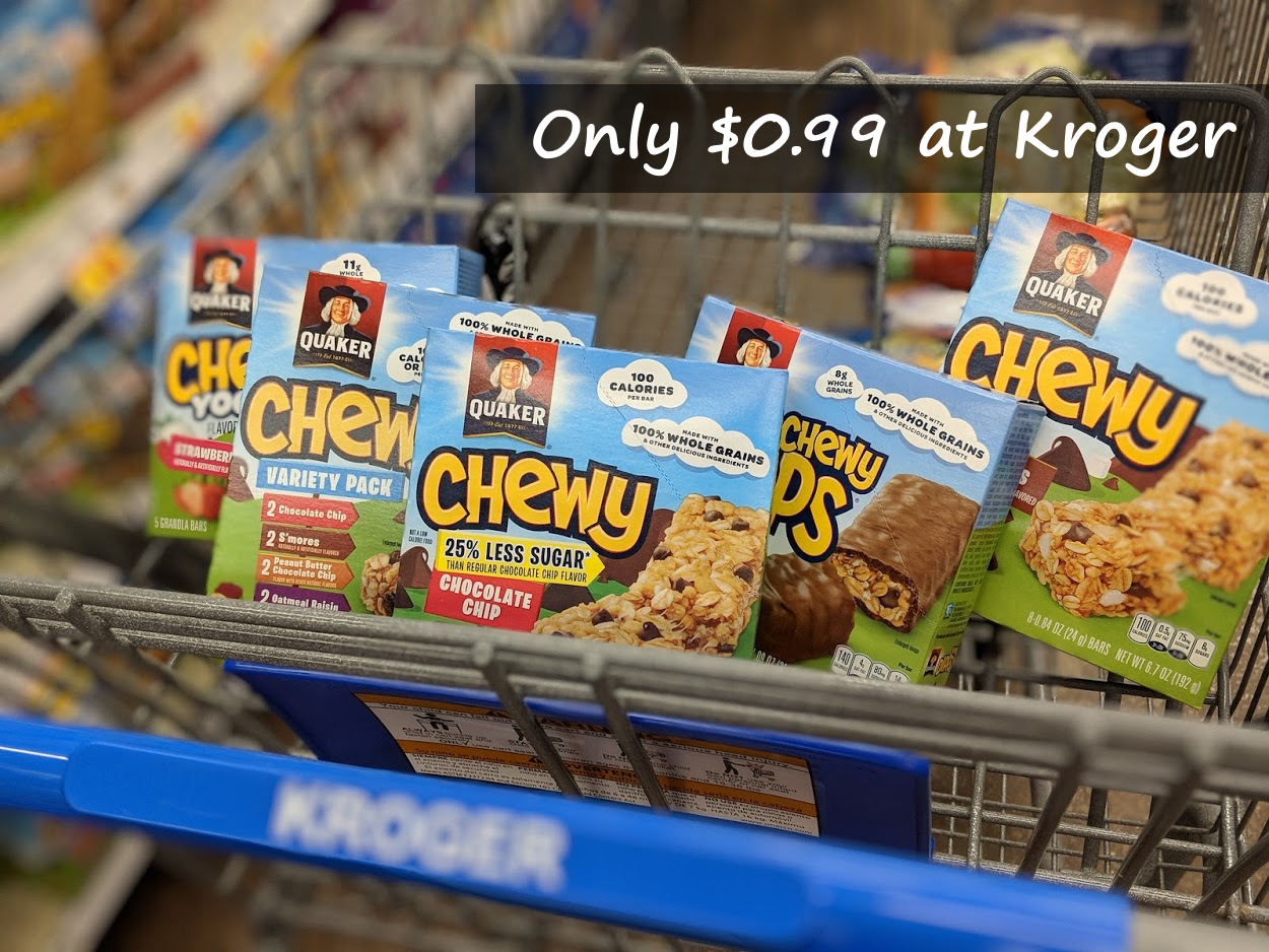 Boxes Of Quaker Chewy Bars Only 0 99 Or Less At Kroger