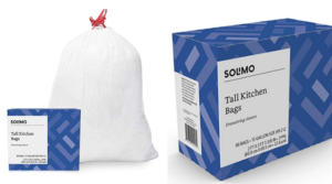 Amazon Brand – Solimo Tall Kitchen Drawstring Trash Bags, 13 Gallon, 90 Count as low as $8.54!