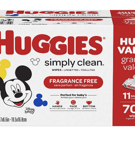 Huggies Simply Clean Fragrance-free Baby Wipes 704 ct. Deal!