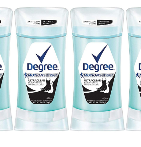 Degree UltraClear Black + White Antiperspirant Deodorant 2.6 oz, 4 count Deal!