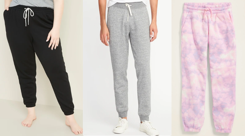 Old Navy Fleece Joggers for the Whole Family Only $10 - $12