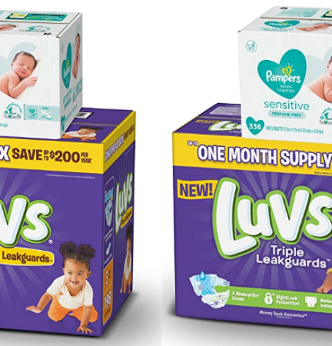 Luvs Diapers One Months Supply + Pampers Baby Wipes 336 Count Bundle – New $7.50 Coupon!