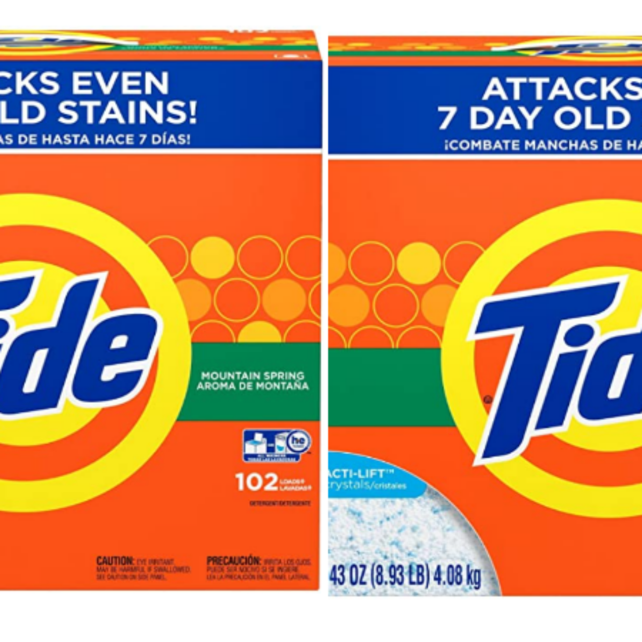 Tide Powder Laundry Detergent, Mountain Spring, 102 Loads 143 oz – Buy 2 Save $10!