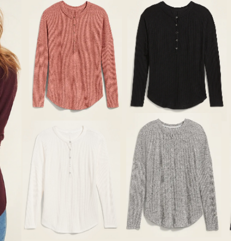 Relaxed Cozy Waffle-Knit Henley Tunic Top for Women Only $10 (Regular $26.99) – Today Only!