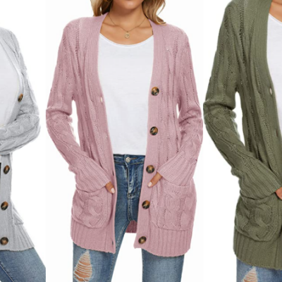 UEU Cable Knit Cardigan Sweater – 50% Off Code!