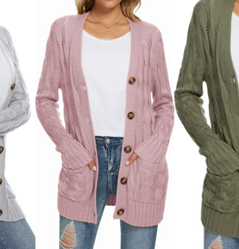UEU Cable Knit Cardigan Sweater – 50% Off Code!